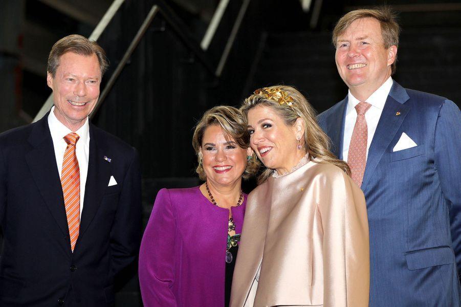 Le grand-duc Henri et la grande-duchesse Maria Teresa de Luxembourg avec la reine Maxima et le roi Willem-Alexander des Pays-Bas au Luxembourg, le 24 mai 2018