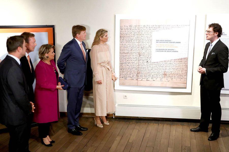Le couple grand-ducal du Luxembourg et le couple royal des Pays-Bas au château de Vianden, le 24 mai 2018