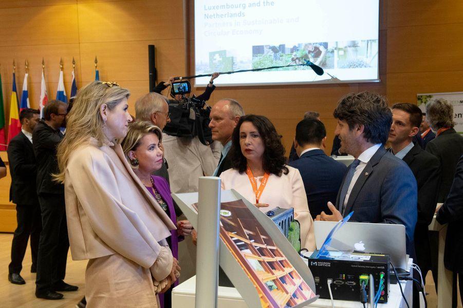 La reine Maxima des Pays-Bas et la grande-duchesse Maria Teresa de Luxembourg à Luxembourg, le 24 mai 2018