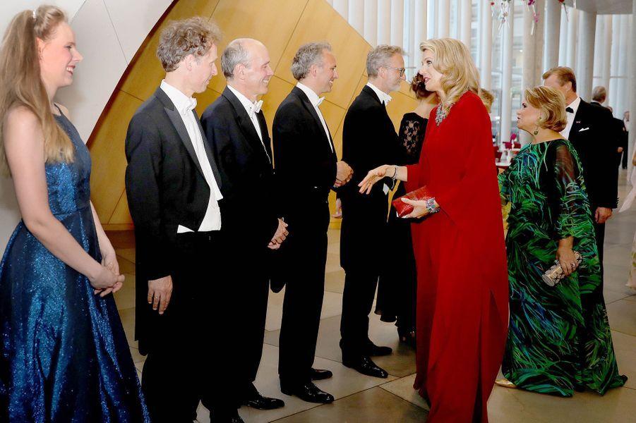 La reine Maxima des Pays-Bas, la grande-duchesse Maria Teresa et le grand-duc Henri de Luxembourg à Luxembourg, le 24 mai 2018