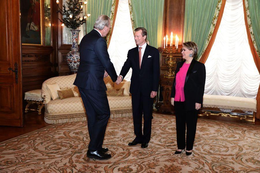 La grande-duchesse Maria Teresa et le grand-duc Henri de Luxembourg à Luxembourg, le 9 janvier 2019