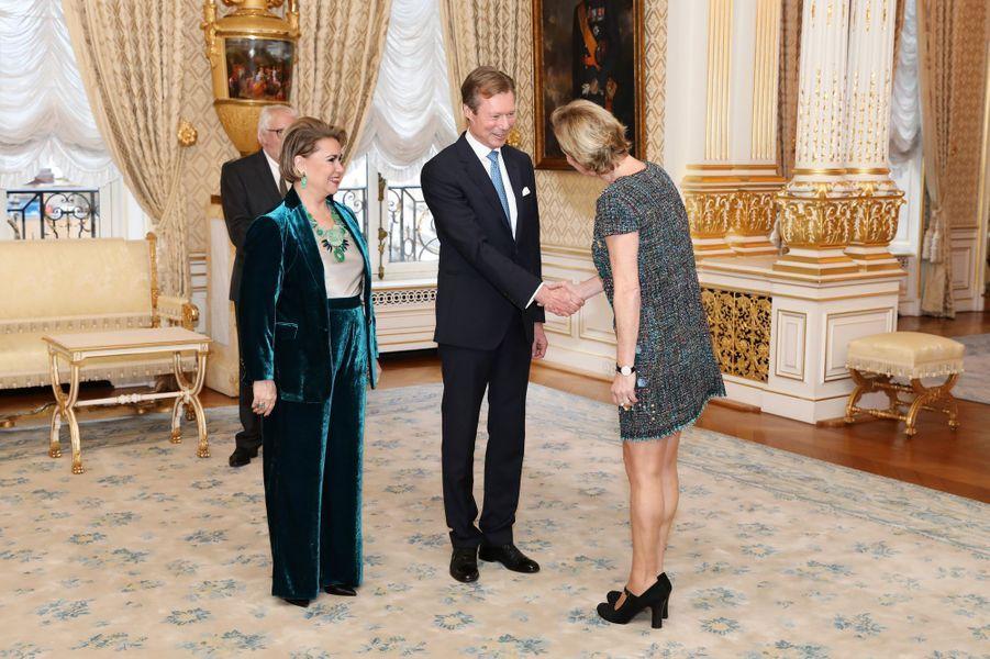 La grande-duchesse Maria Teresa et le grand-duc Henri de Luxembourg à Luxembourg, le 8 janvier 2019