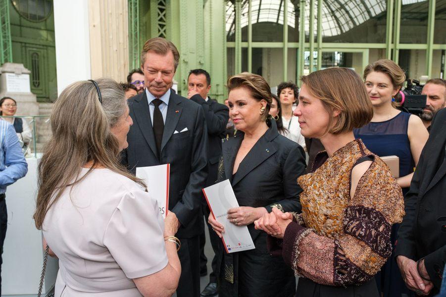 La grande-duchesse Maria Teresa, le grand-duc Henri de Luxembourg et la princesse Stéphanie à Paris, le 22 mai 2019