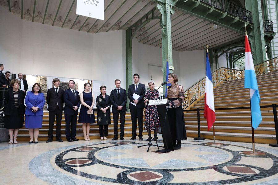 La grande-duchesse Maria Teresa, le grand-duc Henri de Luxembourg, les princes Guillaume et Louis et la princesse Stéphanie à Paris, le 22 mai 2019