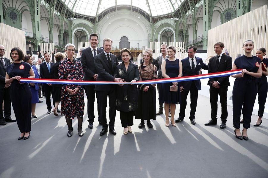 La grande-duchesse Maria Teresa et le grand-duc Henri de Luxembourg avec les princes Guillaume et Louis et la princesse Stéphanie à Paris, le 22 mai 2019