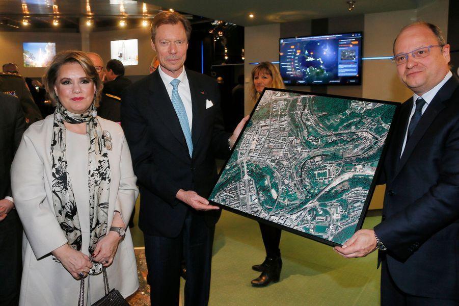 La grande-duchesse Maria Teresa et le grand-duc Henri de Luxembourg au CNES, à Toulouse le 21 mars 2018