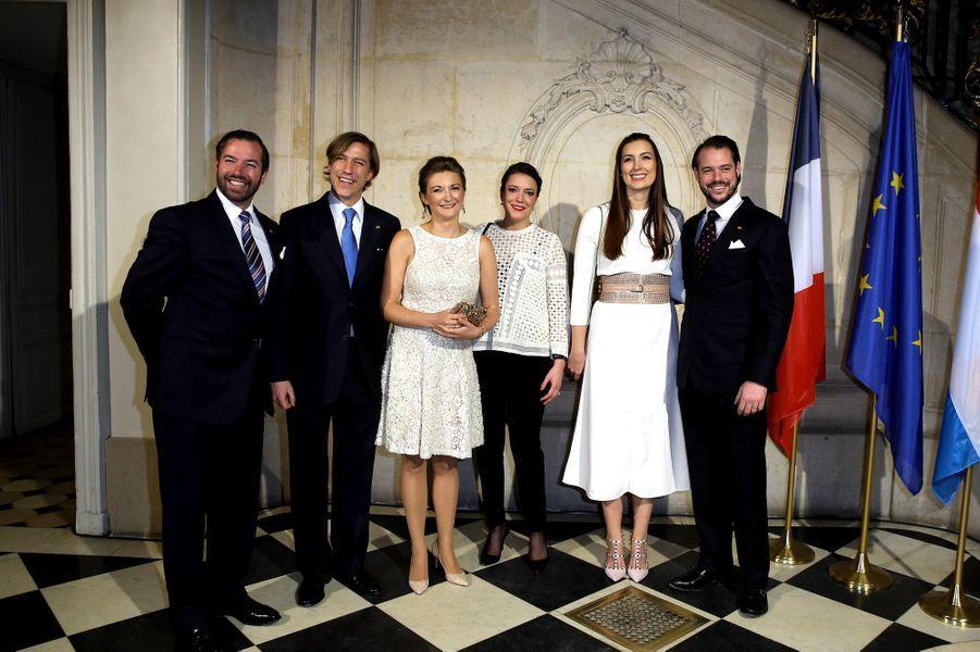 Les princes Guillaume, Louis et Félix de Luxembourg et les princesses Stéphanie et Claire à Paris le 20 mars 2018