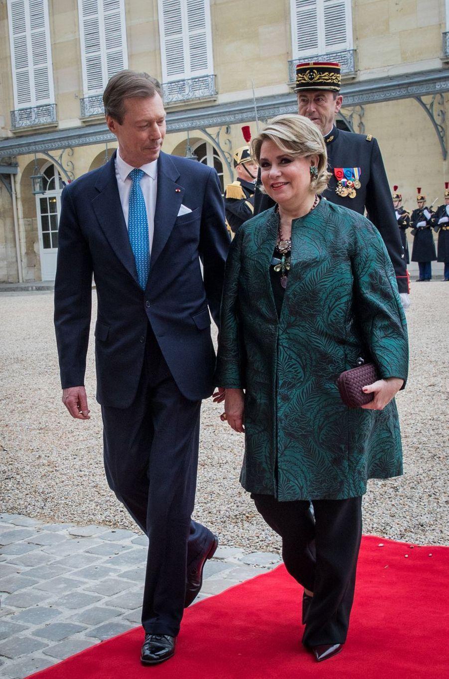 La grande-duchesse Maria Teresa et le grand-duc Henri de Luxembourg à Paris le 20 mars 2018