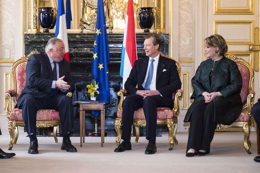 La grande-duchesse Maria Teresa et le grand-duc Henri de Luxembourg au Sénat avec Gérard Larcher à Paris le 20 mars 2018