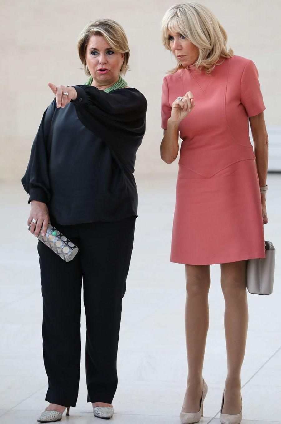 La grande-duchesse Maria Teresa de Luxembourg et Brigitte Macron à Luxembourg, le 29 août 2017