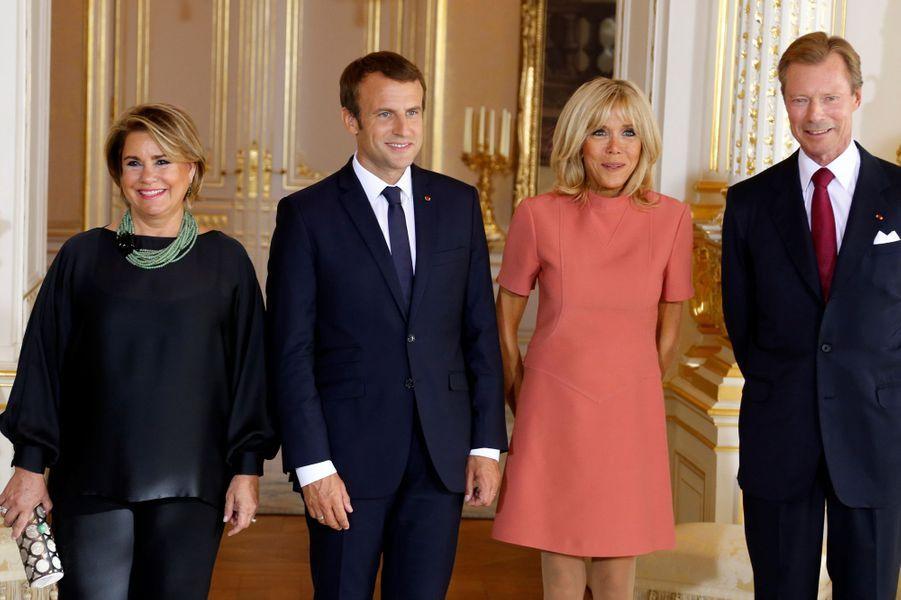 Le couple grand-ducal du Luxembourg et le couple présidentiel français à Luxembourg, le 29 août 2017