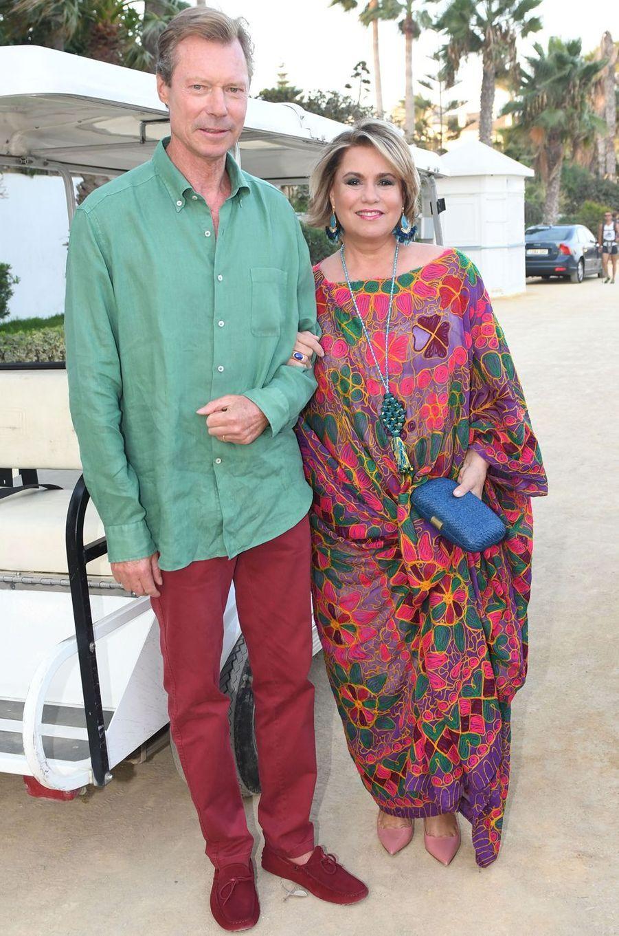 La grande-duchesse Maria Teresa de Luxembourg et son mari le grand-duc Henri à Marbella, le 1er septembre 2017