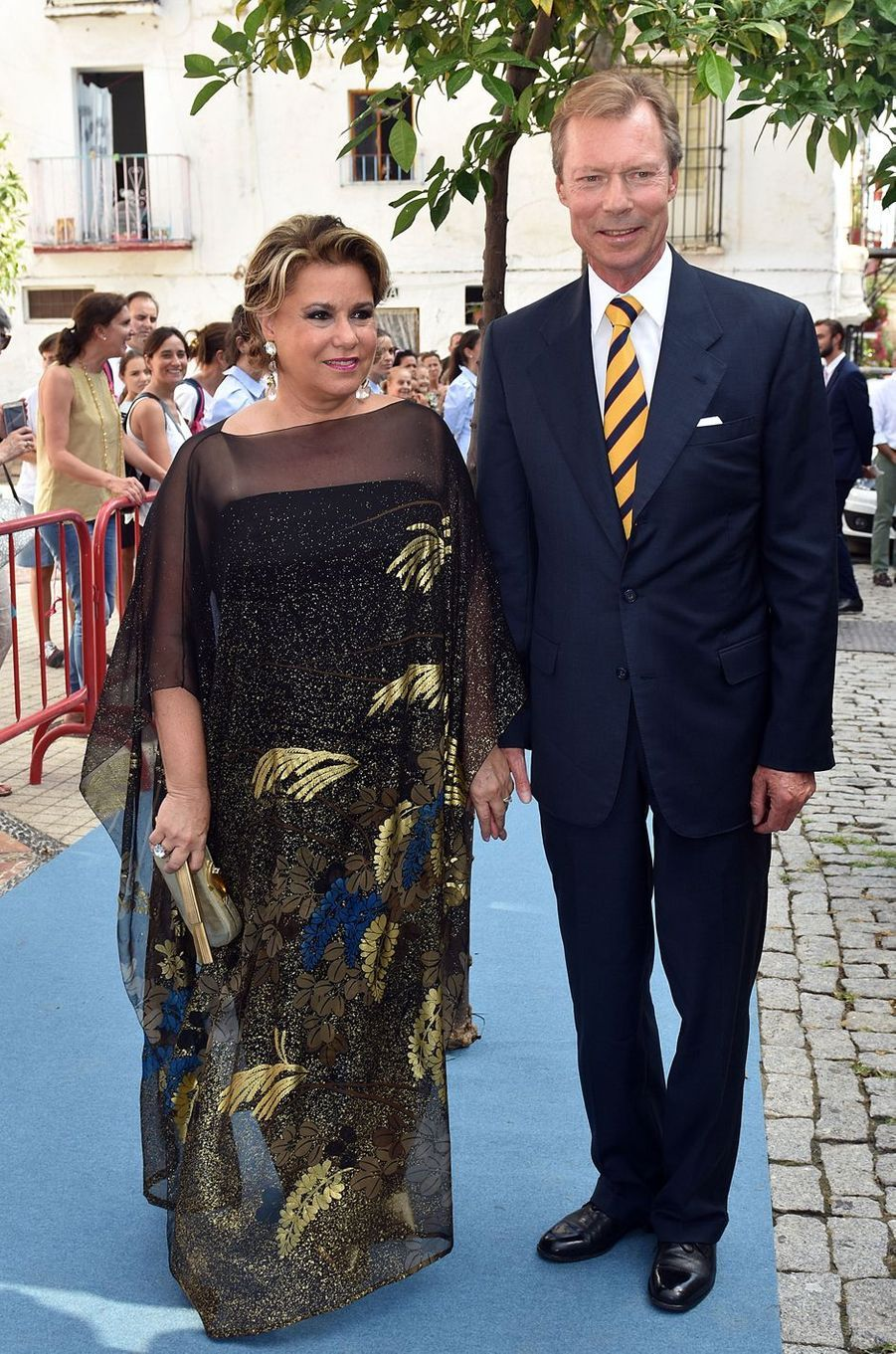 La grande-duchesse Maria Teresa de Luxembourg avec son mari le grand-duc Henri à Marbella, le 2 septembre 2017