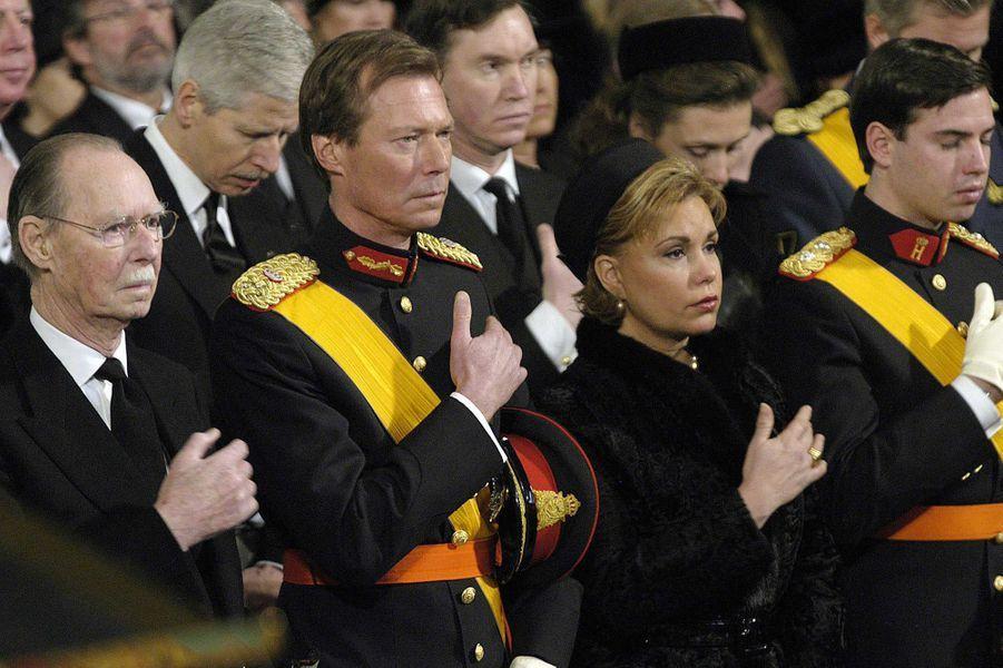 L'ex-grand-duc Jean de Luxembourg aux obsèques de son épouse, le 15 janvier 2005