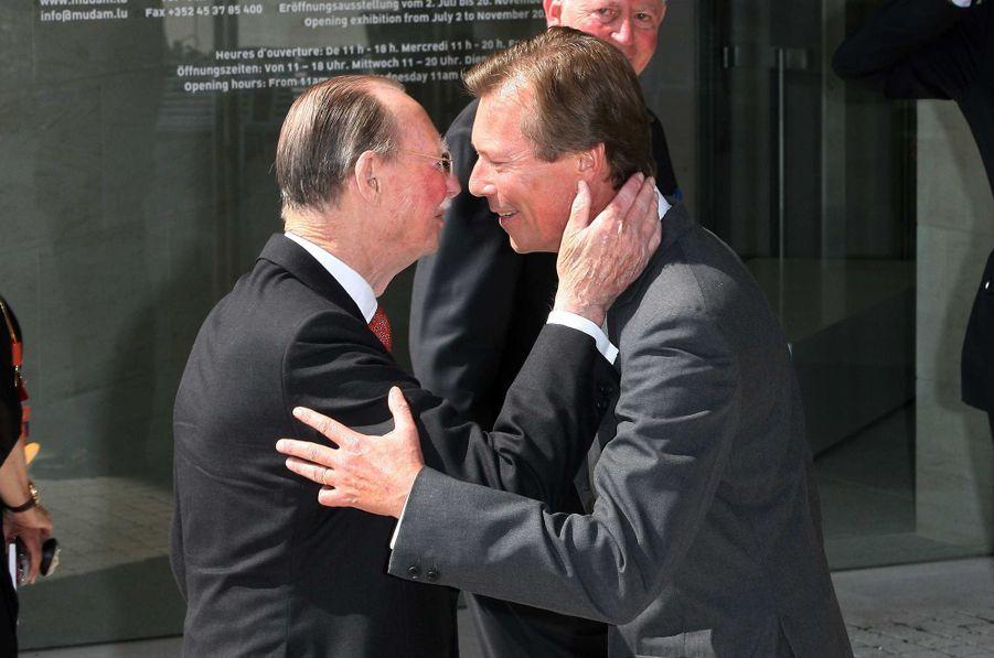 L'ex-grand-duc Jean de Luxembourg avec le grand-duc Henri, le 1er juillet 2006