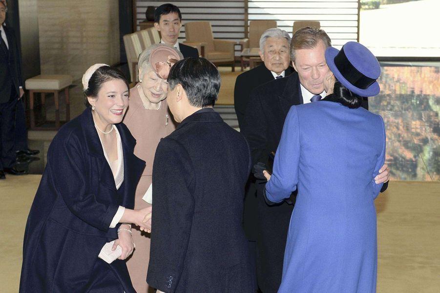 La princesse Alexandra et le grand-duc Henri de Luxembourg avec le prince Naruhito et la princesse Masako du Japon à Tokyo, le 27 novembre 2017