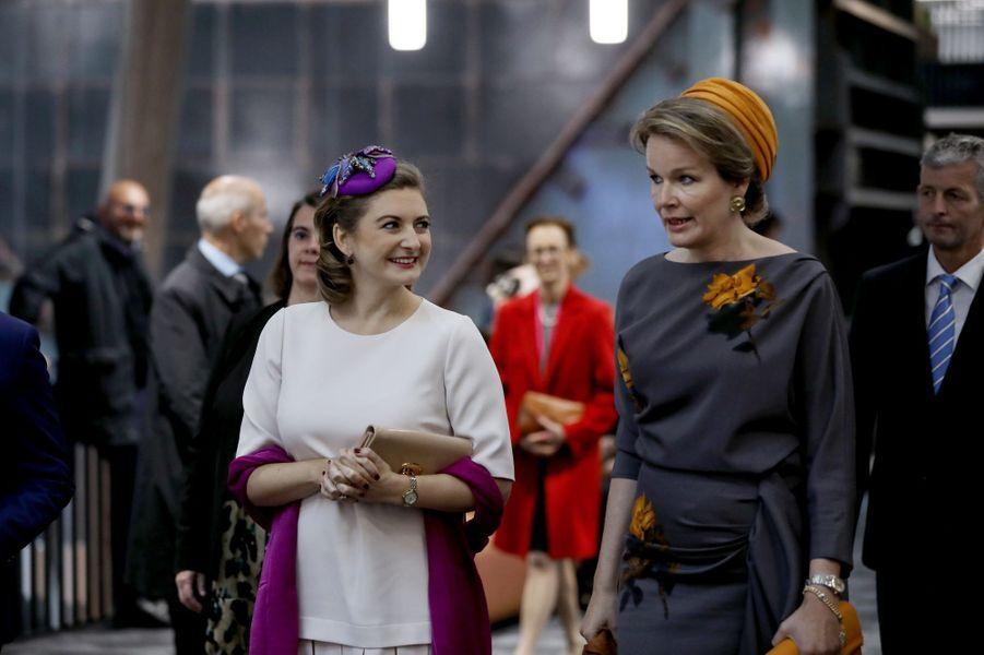 La princesse Stéphanie de Luxembourg et la reine des Belges Mathilde à Esch-Belval, le 16 octobre 2019