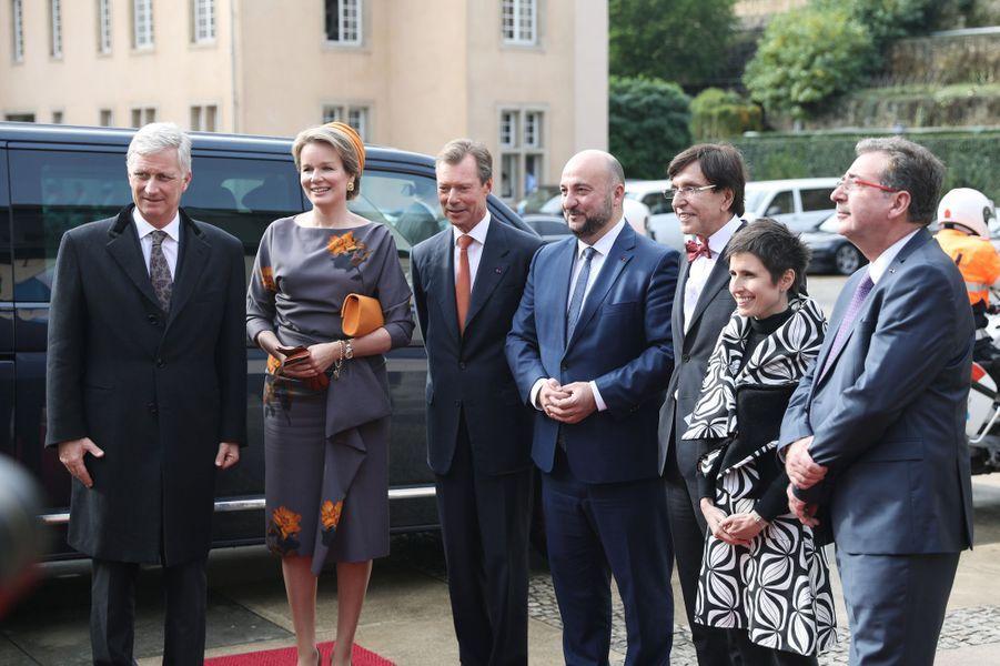 Le grand-duc Henri de Luxembourg avec la reine Mathilde et le roi des Belges Philippe à Luxembourg le 16 octobre 2019