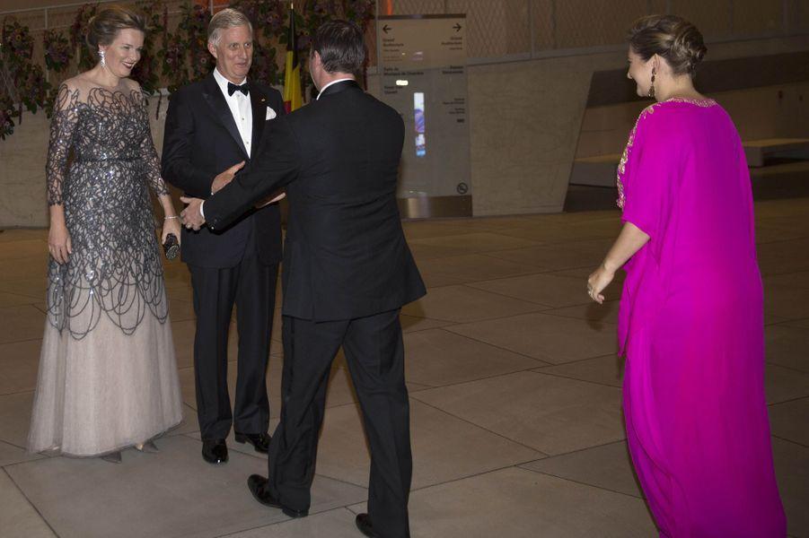 Le prince Guillaume et la princesse Stéphanie de Luxembourg avec la reine Mathilde et le roi des Belges Philippe à Luxembourg, le 16 octobre 2019