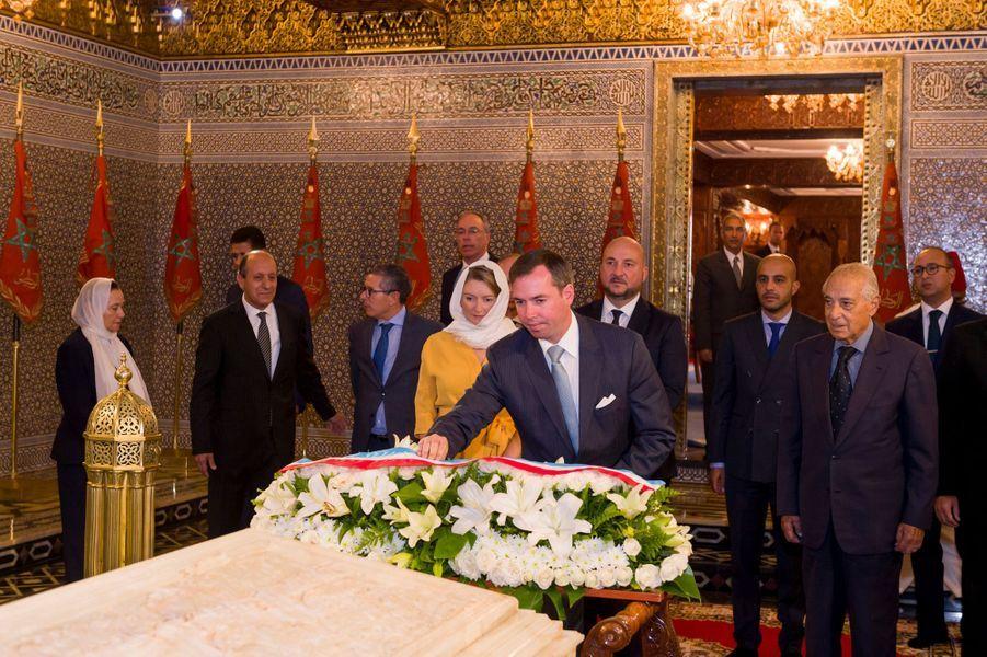 Le prince Guillaume et la princesse Stéphanie de Luxembourg dans le Mausolée de Mohammed V à Rabat, le 23 septembre 2019