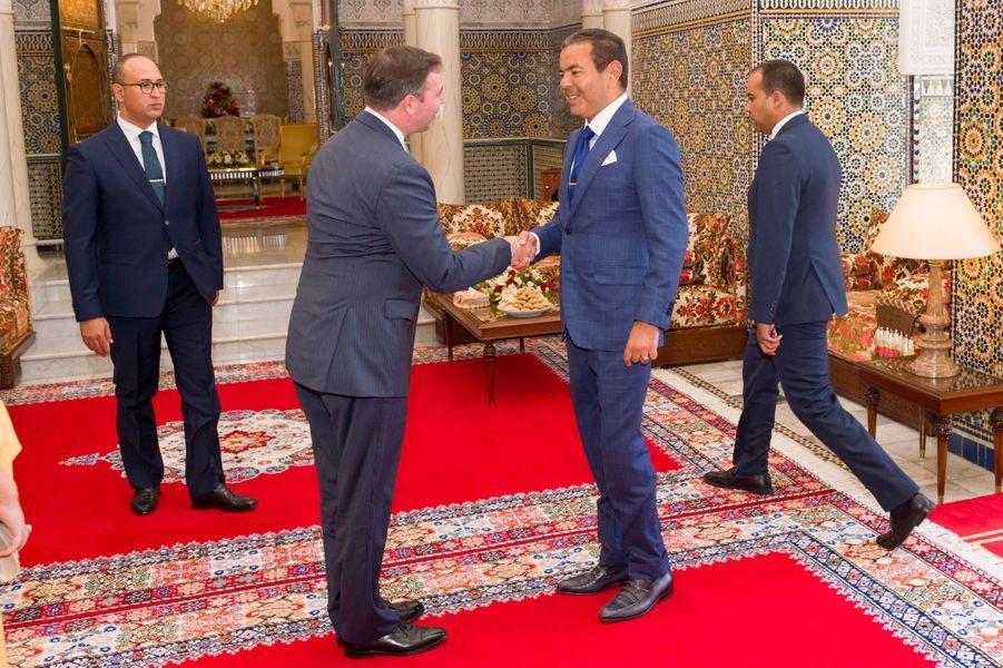 Le prince Guillaume de Luxembourg avec le prince Moulay Rachid du Maroc à Rabat, le 23 septembre 2019