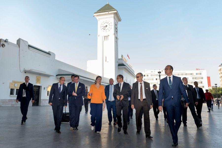 Le prince Guillaume et la princesse Stéphanie de Luxembourg à la gare de Casablanca, le 25 septembre 2019