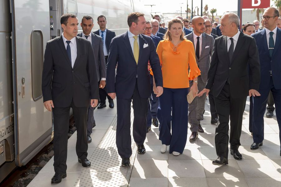 Le prince Guillaume et la princesse Stéphanie de Luxembourg à leur arrivée à Tanger en TGV, le 25 septembre 2019