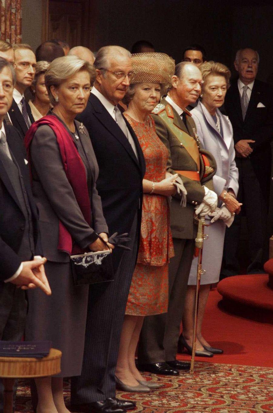 La reine Paola et le roi des Belges Albert II, la reine Beatrix des Pays-Bas, l'ex-grand-duc Jean et l'ex-grande-duchesse Joséphine-Charlotte de Luxembourg, à Luxembourg le 7 octobre 2020