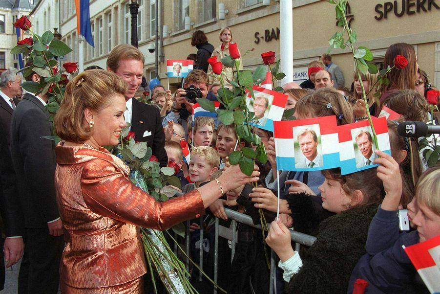 Le grand-duc Henri et la grande-duchesse Maria Teresa de Luxembourg, le 7 octobre 2000