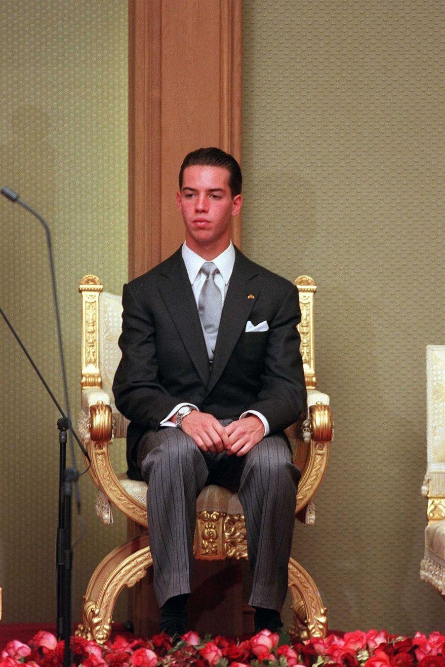 La prince héritier Guillaume de Luxembourg, le 7 octobre 2000