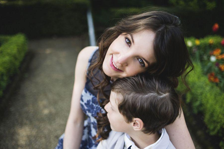 La princesse Tessy du Luxembourg, avec son fils, le prince Gabriel, en 2014