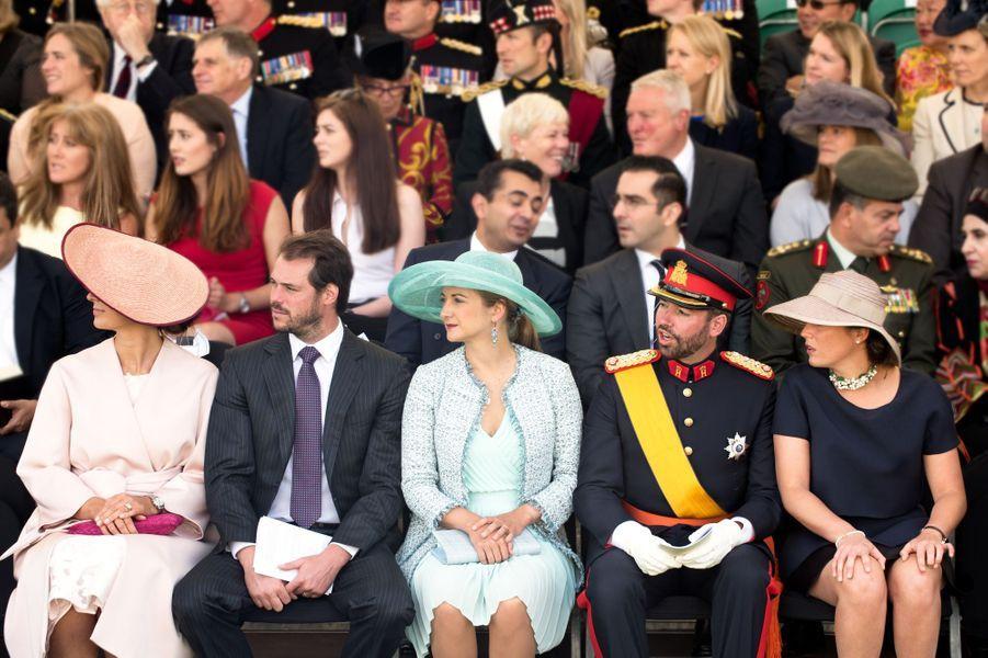 Les princesses Claire, Stéphanie et Alexandra et les princes Félix et Guillaume de Luxembourg à Sandhurst, le 11 août 2017