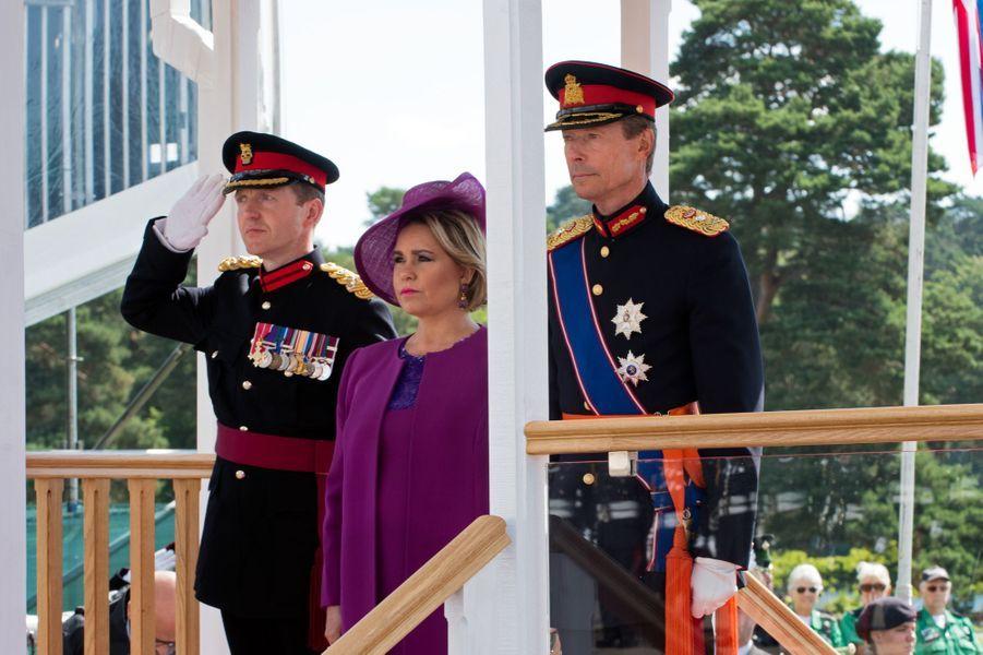 Le grand-duc Henri de Luxembourg et la grande-duchesse Maria Teresa, à Sandhurst le 11 août 2017