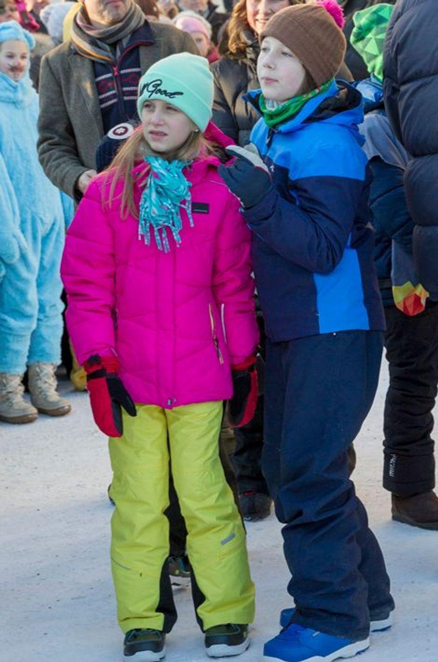 Leah Isadora et Maud Angelica Behn, les filles aînées de la princesse Martha Louise de Norvège à Oslo, le 17 janvier 2016