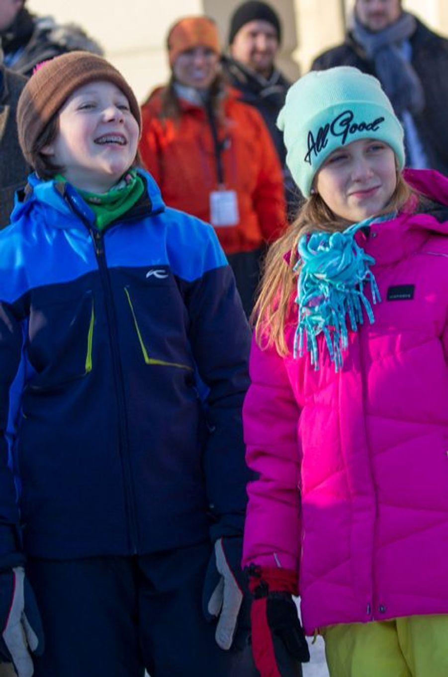 Maud Angelica et Leah Isadora Behn, les filles aînées de la princesse Martha Louise de Norvège à Oslo, le 17 janvier 2016