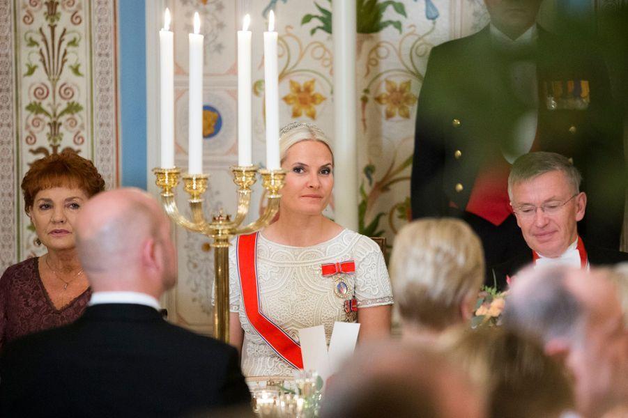 La princesse Mette-Marit de Norvège au Palais royal à Oslo, le 22 octobre 2015