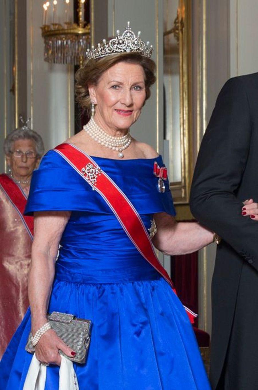 La reine Sonja de Norvège au Palais royal à Oslo, le 22 octobre 2015