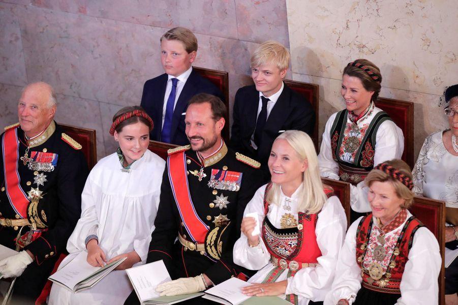La princesse Ingrid Alexandra de Norvège entourée de sa famille, à Oslo le 31 août 2019