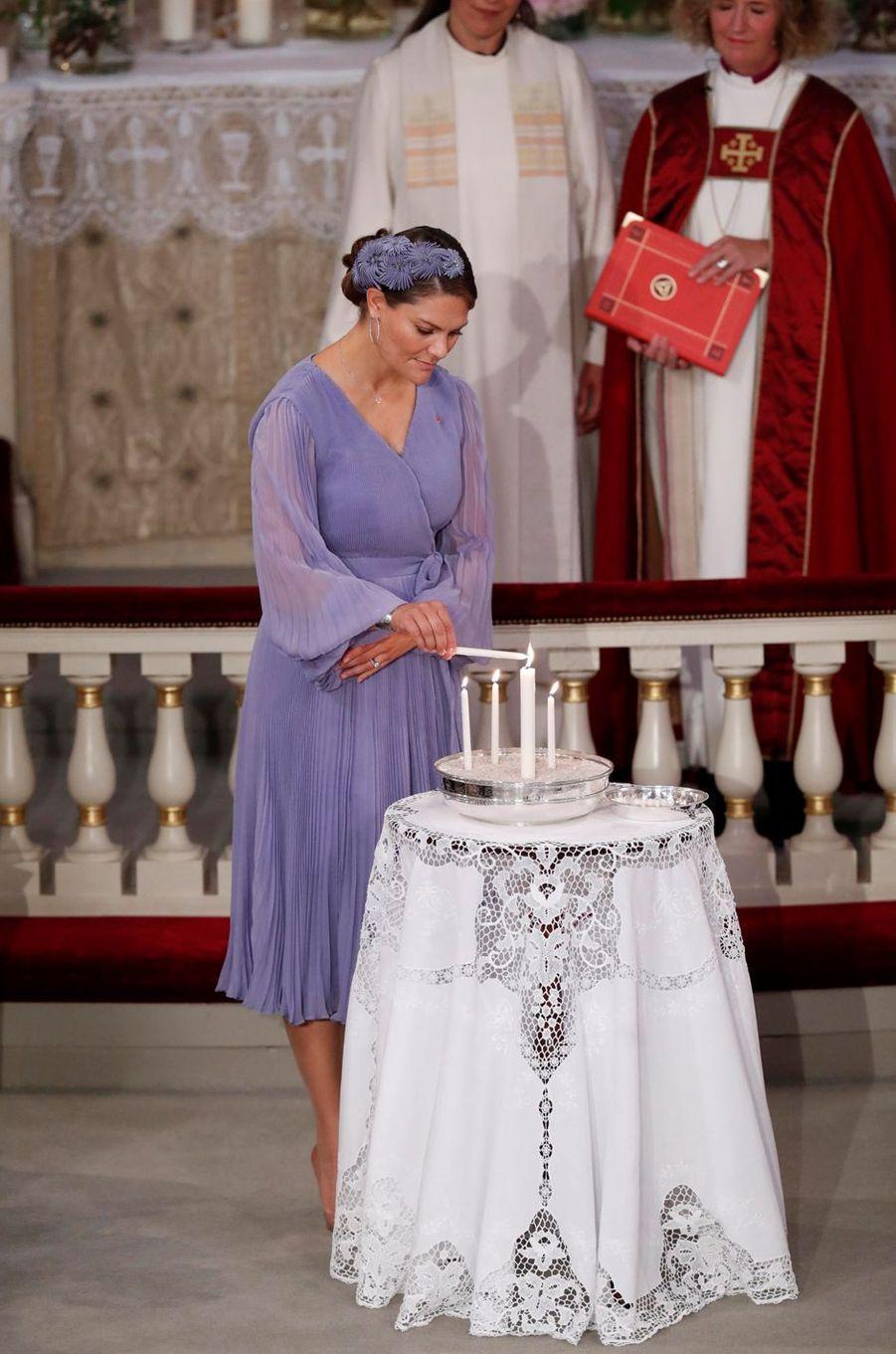La princesse Victoria de Suède lors de la confirmation de sa filleule la princesse Ingrid Alexandra de Norvège, à Oslo le 31 août 2019