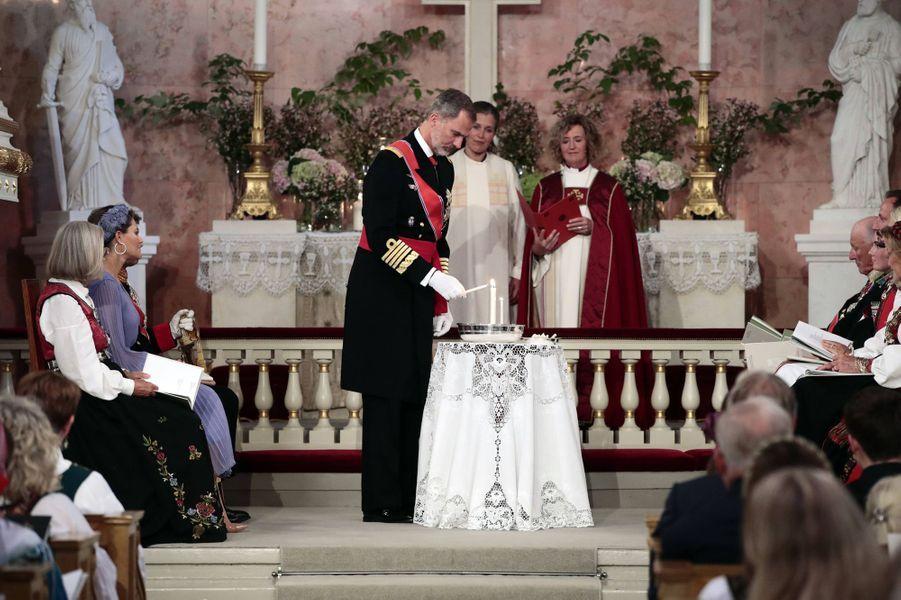 Le roi Felipe VI d'Espagne lors de la confirmation de sa filleule la princesse Ingrid Alexandra de Norvège, à Oslo le 31 août 2019