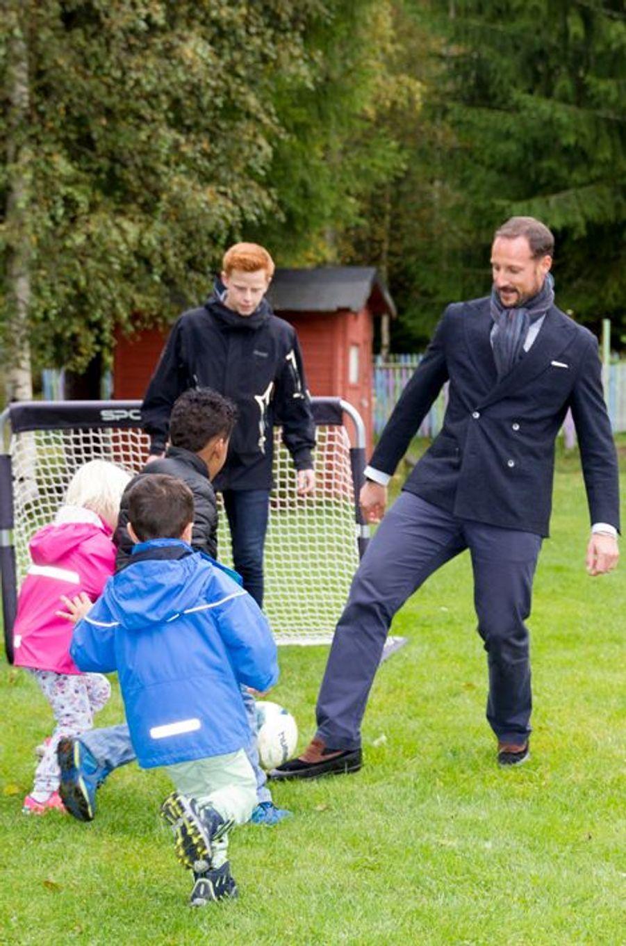Le prince Haakon de Norvège à Nannestad, le 16 septembre 2015