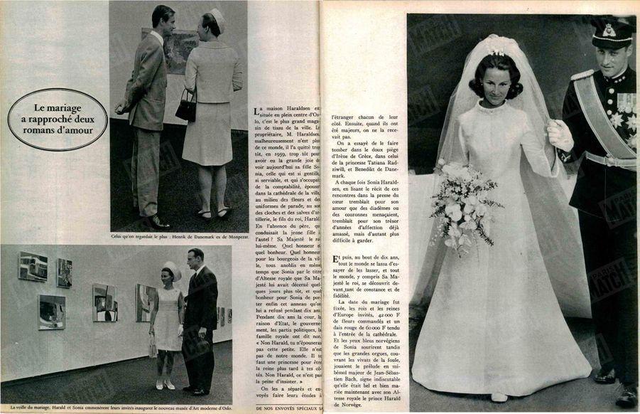 (à g.) «La veille du mariage, Harald et Sonja emmenèrent leurs invités inaugurer le nouveau musée d'Art moderne d'Oslo.»(à dr) le jour du mariageParis Match n°1009, daté du 7 septembre 1968