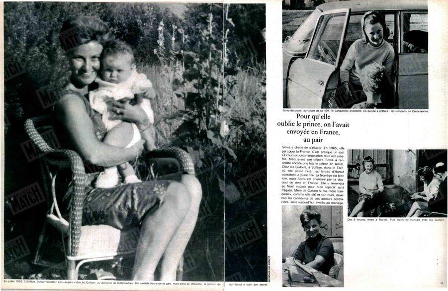 «Pour qu'elle oublie le prince, on l'avait envoyée en France, au pair(à g.) En juillet 1965, à Sollèze. Sonja Haraldsen est au pair chez les Guibert, au domaine de Bellesherbes. Elle semble heureuse et gaie mais dans sa chambre, le portrait de son fiancé a trahi son secret.(à dr., en haut) Sonja découvre, au volant de sa 404 le Languedoc ensoleillé. Ce qu'elle a préféré : les remparts de Carcassonne.(à dr., en bas) Dès 8 heures, lettre à Harald. Puis leçon de français avec les Guibert.»Paris Match n°990, daté du 30 mars 1968