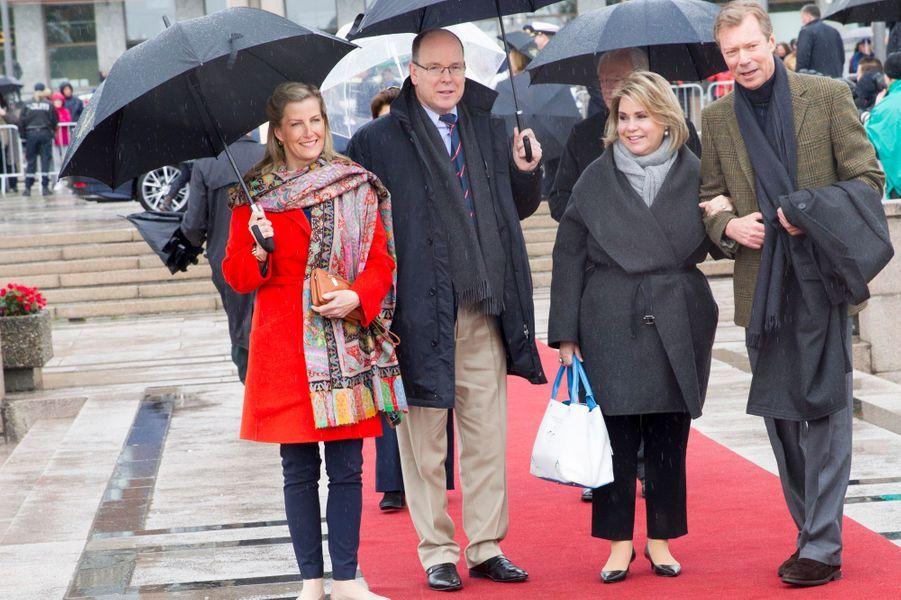 La comtesse Sophie de Wessex, le prince Albert II de Monaco, la grande-duchesse Maria Teresa et le grand-duc Henri de Luxembourg à Oslo, le 10 mai 2017