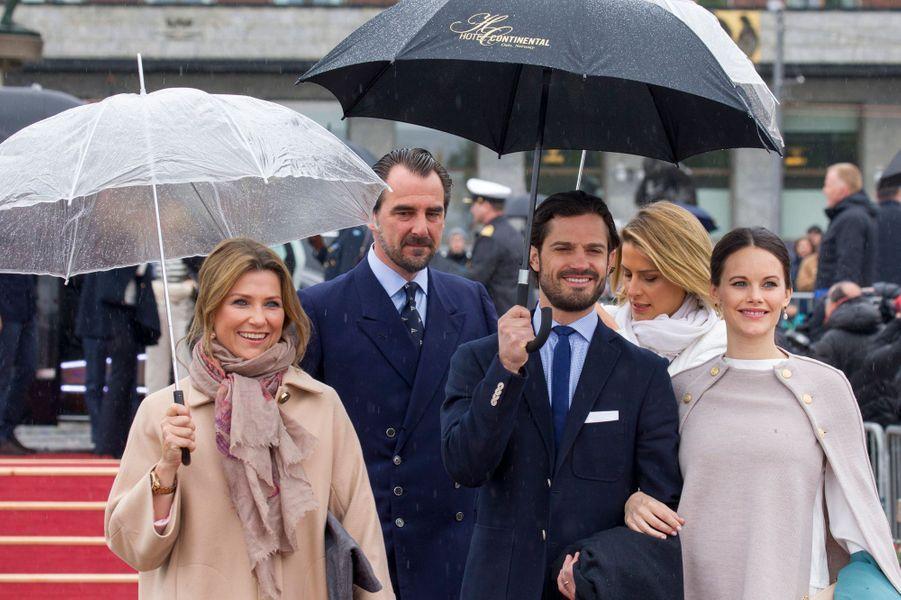 La princesse Märtha Louise de Norvège, le prince Nikolaos de Grèce, le prince Carl Philip et la princesse Sofia de Suède à Oslo, le 10 mai 2017