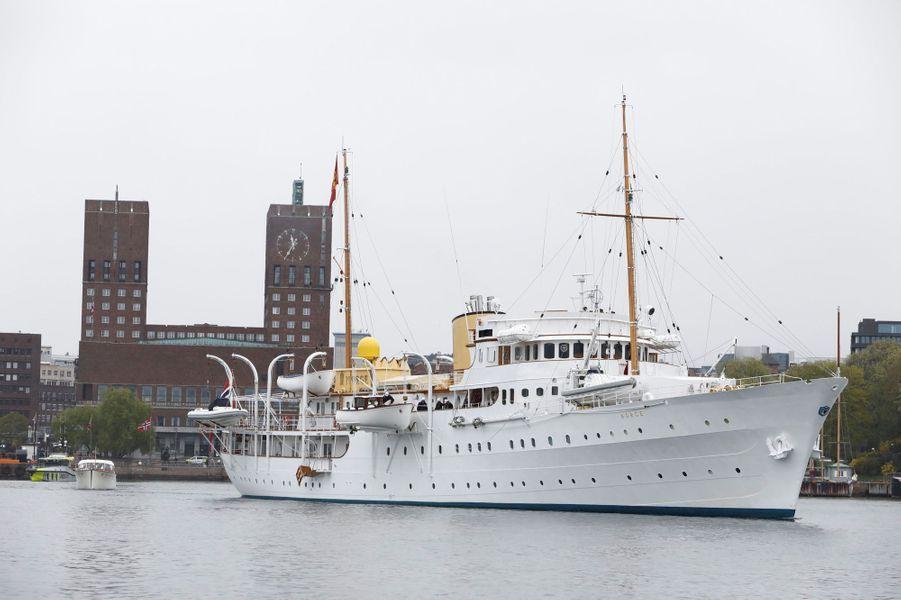 Le Norge, le yacht du roi Harald V de Norvège, à Oslo le 10 mai 2017