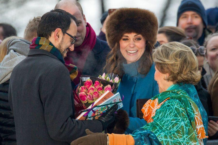 La duchesse de Cambridge et la reine Sonja de Norvège à Oslo, le 1er février 2018