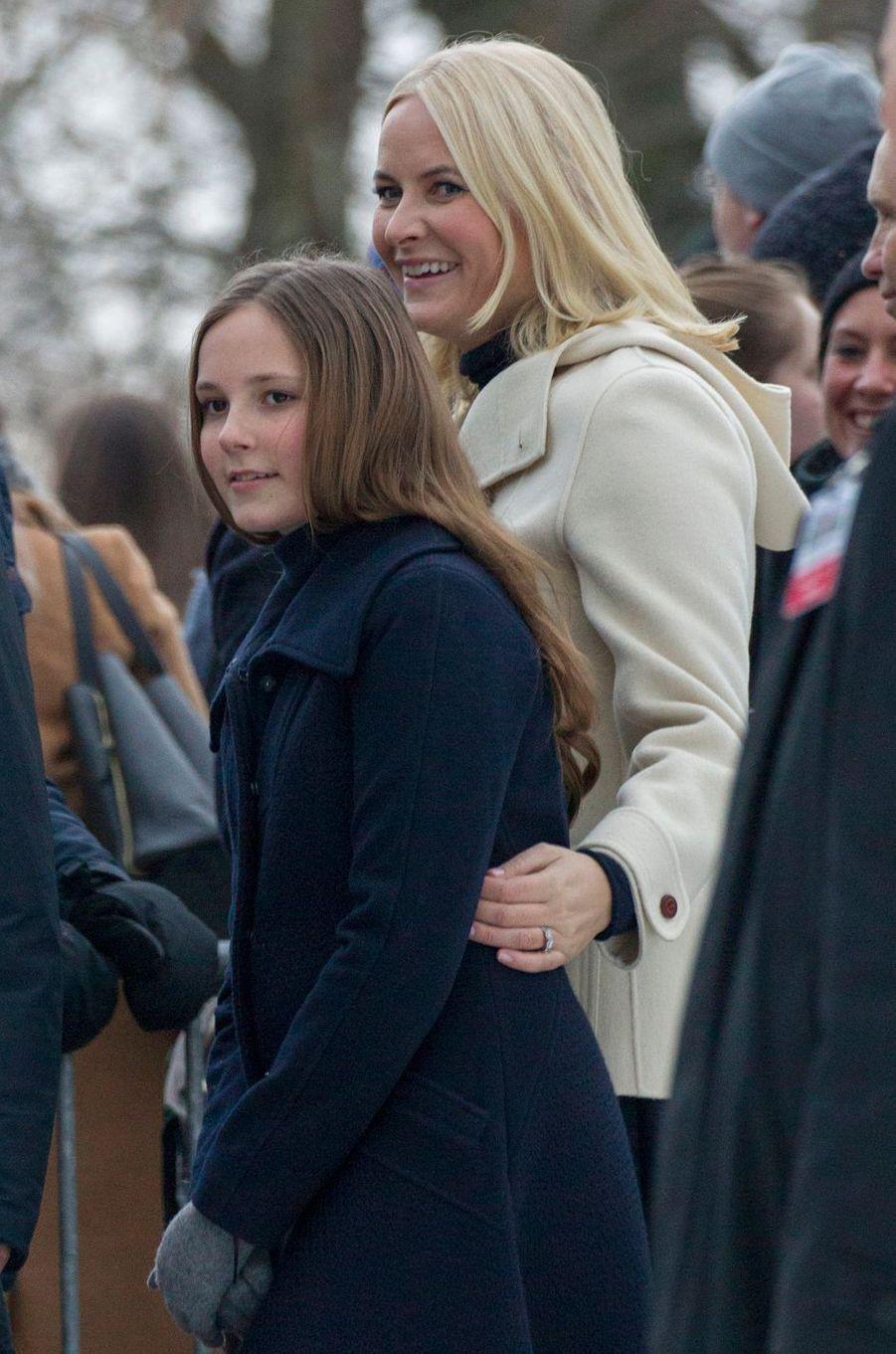 Les princesses Ingrid Alexandra et Mette-Marit de Norvège à Oslo, le 1er février 2018