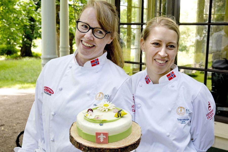 Un gâteau d'anniversaire pour la reine Sonja de Norvège à Oslo, le 4 juillet 2017
