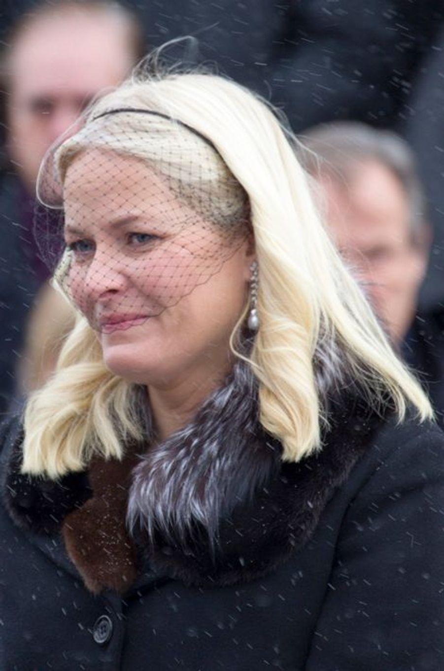 La princesse Mette-Marit de Norvège aux obsèques de Johan Martin Ferner, le 2 février 2015